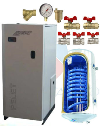 pachet instalare cazan pe peleti lafat 25 kw cu boiler